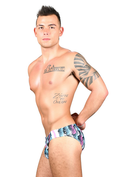 Andrew Christian Tropical Resort Pineapple Swim Bikini 7722 - Mens Swim Bikini Briefs - Side View - Topdrawers Swimwear for Men