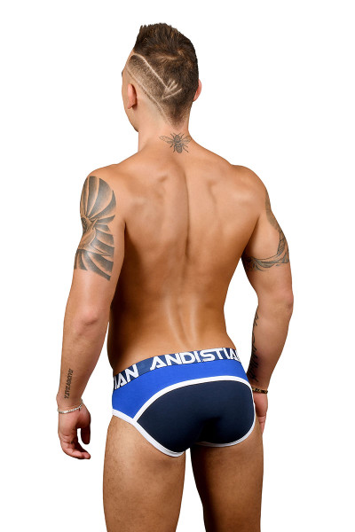 Andrew Christian Almost Naked Retro Premium Brief 91344-NV Navy BlueRB - Mens Briefs - Rear View - Topdrawers Underwear for Men