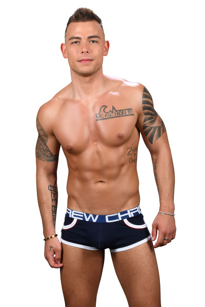 Andrew Christian Show-It Retro Pop Pocket Boxer 91348-NV Navy Blue - Mens Boxer Briefs - Front View - Topdrawers Underwear for Men