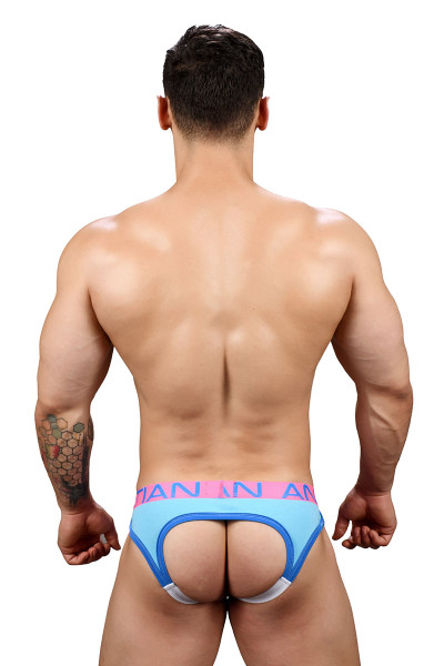 Andrew Christian Show-It Retro Pop Locker Room Jock 91349-Aqua - Mens Jock Briefs - Rear View - Topdrawers Underwear for Men