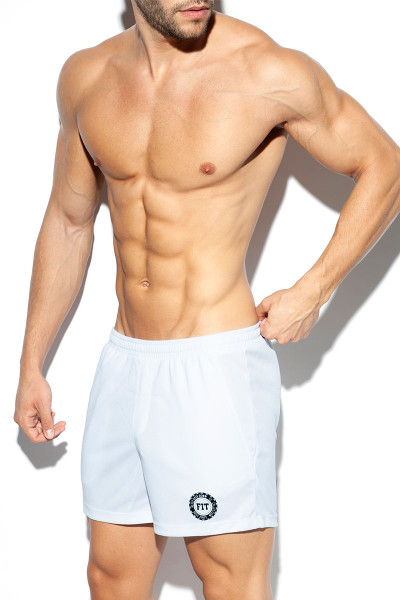 ES Collection Training Fit Short SP226-01 White - Mens Athletic Shorts - Side View - Topdrawers Clothing for Men