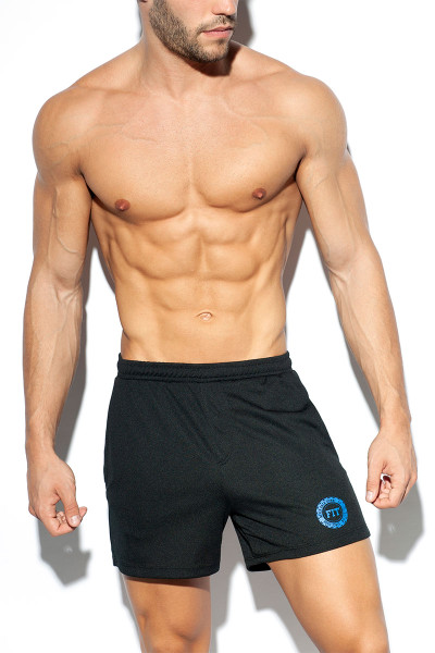 ES Collection Training Fit Short SP226-10 Black - Mens Athletic Shorts - Front View - Topdrawers Clothing for Men