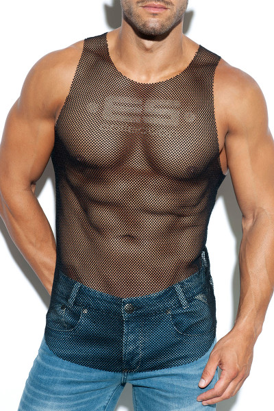ES Collection Mesh Tank Top TS261-10 Black - Mens Tank Tops T-Shirts - Front View - Topdrawers Clothing for Men