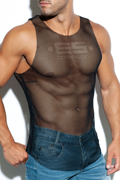 ES Collection Mesh Tank Top TS261-10 Black - Mens Tank Tops T-Shirts - Side View - Topdrawers Clothing for Men