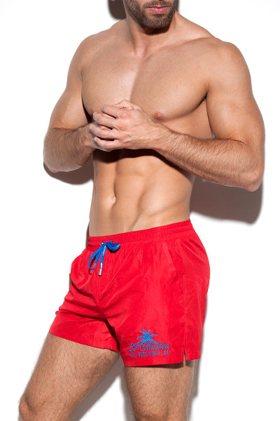 ES Collection Basic Swim Boardshort 1922-06 Red - Mens Swim Boardshorts - Side View - Topdrawers Swimwear for Men