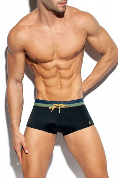 ES Collection Cruise Swim Trunk 2009-10 Black - Mens Swim Trunks - Front View - Topdrawers Swimwear for Men
