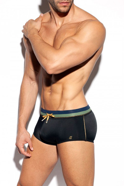 ES Collection Cruise Swim Trunk 2009-10 Black - Mens Swim Trunks - Side View - Topdrawers Swimwear for Men
