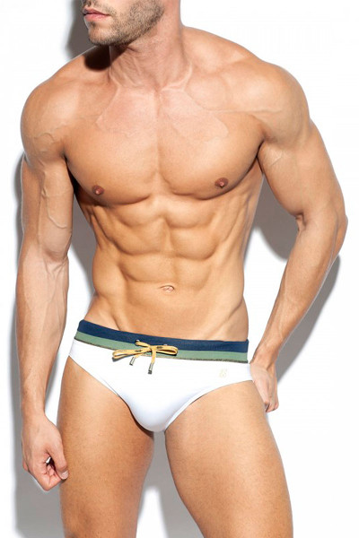 ES Collection Cruise Swim Brief 2008-01 White - Mens Swim Bikini Briefs - Front View - Topdrawers Swimwear for Men