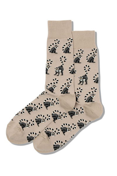 Hot Sox Lemurs Crew Socks HSM10006 - Mens Socks - Front View - Topdrawers Footwear for Men