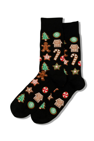 Hot Sox Christmas Cookies Crew Socks HMH00017 - Mens Socks - Front View - Topdrawers Footwear for Men