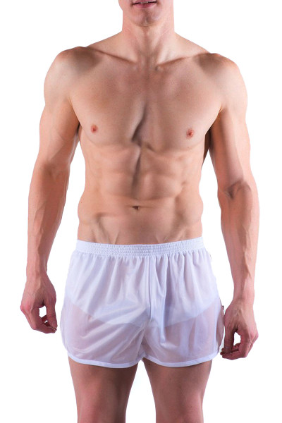 Go Softwear AJ Training Short 8740-WH White - Mens Athletic Shorts - Front View - Topdrawers Clothing for Men