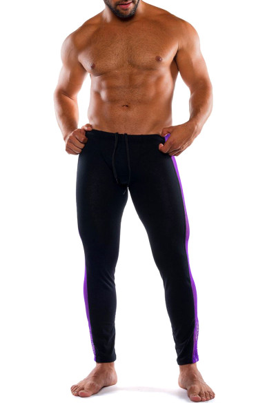 Go Softwear Hard Core XXX H Tights 4467-PL PurpleBL - Mens Fetish Long Underwear - Front View - Topdrawers Underwear for Men
