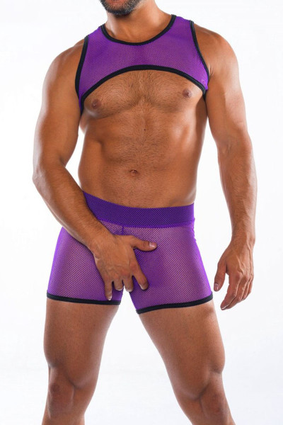 Go Softwear Hard Core XXX H Harness 4461-PL Purple - Mens Fetish Mesh Harnesses - Front View - Topdrawers Clothing for Men