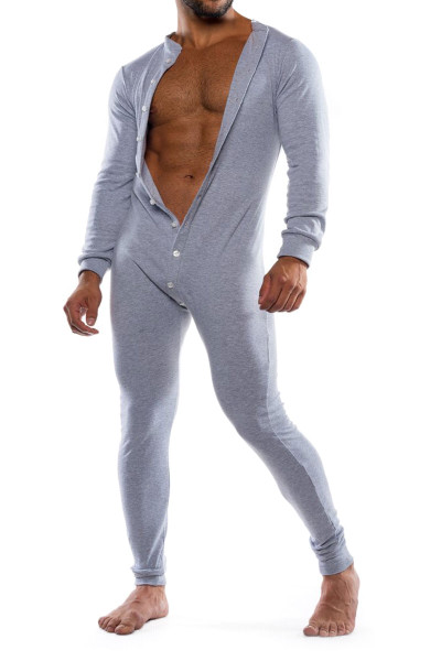 Go Softwear Lumber Jack Union Suit 4796-HEA Heather Grey - Mens Onesies - Front View - Topdrawers Underwear for Men