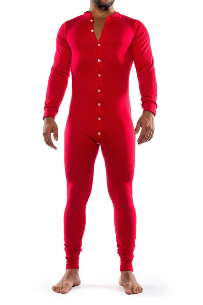 Go Softwear Lumber Jack Union Suit 4796-RD Red - Mens Onesies - Front View - Topdrawers Underwear for Men