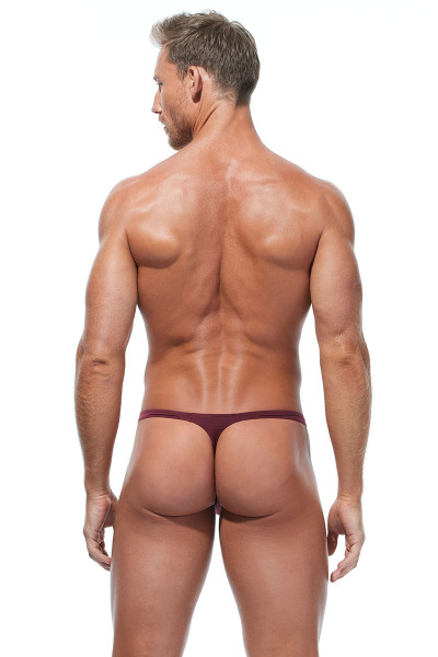 Gregg Homme Wonder Thong 96104-BUR Burgundy - Mens Thongs - Rear View - Topdrawers Underwear for Men