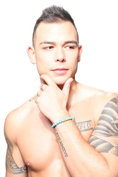 Andrew Christian Pride Turquoise Energy Bracelet 8481 - Mens Bracelet Jewellery - Front View - Topdrawers Apparel for Men