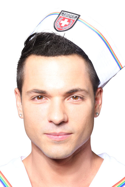 Andrew Christian Pride Sailor Hat 8466 - Mens Hats - Front View - Topdrawers Clothing for Men