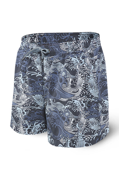 Saxx Cannonball 2N1 Swim Short 5-Inch | Blue Great Wave SXTS30-GWB - Mens Boardshort Swim Shorts - Front View - Topdrawers Swimwear for Men