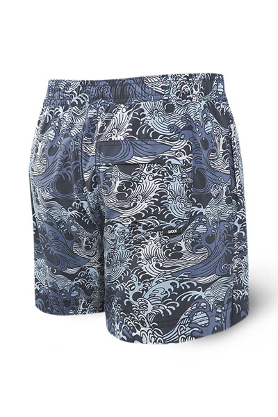 Saxx Cannonball 2N1 Swim Short 5-Inch | Blue Great Wave SXTS30-GWB - Mens Boardshort Swim Shorts - Rear View - Topdrawers Swimwear for Men