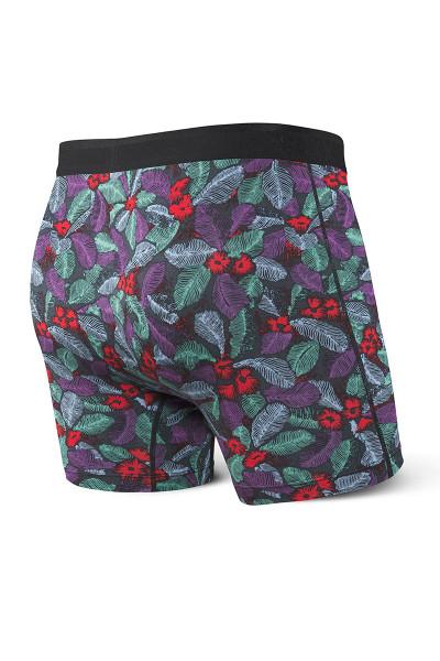 Saxx Platinum Boxer Brief w/ Fly | Blue Skattered Leaf SXBB42F-SKL - Mens Boxer Briefs - Rear View - Topdrawers Underwear for Men