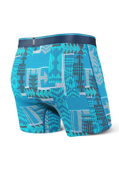 Saxx Quest Boxer Brief w/ Fly | Blue Patch Work SXBB70F-PWB - Mens Boxer Briefs - Rear View - Topdrawers Underwear for Men