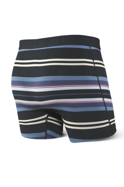 Saxx Vibe Boxer Brief | Black Tartan Stripe SXBM35-TSB - Mens Boxer Briefs - Rear View - Topdrawers Underwear for Men