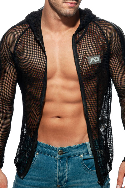 Addicted Mesh Jacket AD841-10 Black - Mens Hoodie Jackets - Front View - Topdrawers Clothing for Men