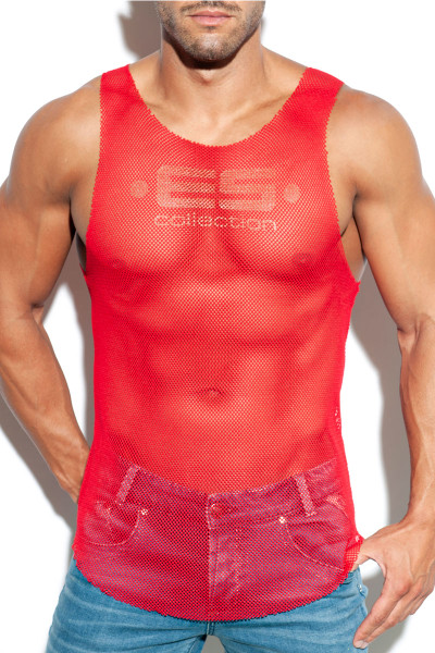 ES Collection Mesh Tank Top TS261-06 Red - Mens Tank Tops - Front View - Topdrawers Clothing for Men