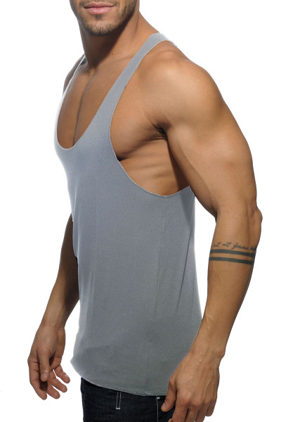 Addicted Back Logo Tank Top AD340-11 Heather Grey - Mens Tank Tops - Side View - Topdrawers Clothing for Men