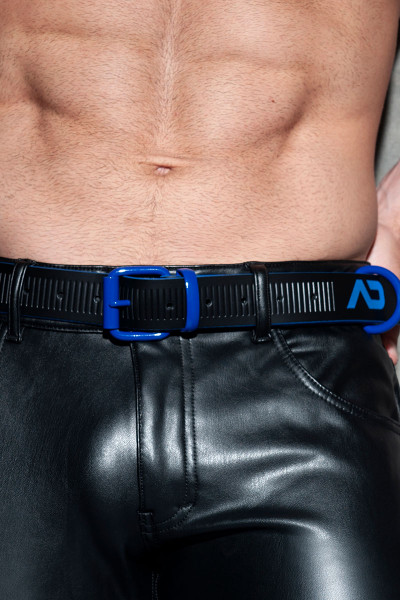Addicted Fetish AD Fetish Leather Belt ADF120-16 Royal Blue - Mens Fetish Belts - Front View - Topdrawers Fetish Wear for Men