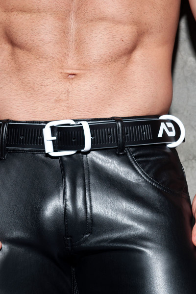 Addicted Fetish AD Fetish Leather Belt ADF120-01 White - Mens Fetish Belts - Front View - Topdrawers Fetish Wear for Men
