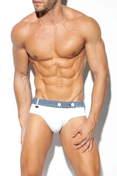 ES Collection Belt Swim Brief 2005-01 White - Mens Swim Bikini Briefs - Front View - Topdrawers Swimwear for Men