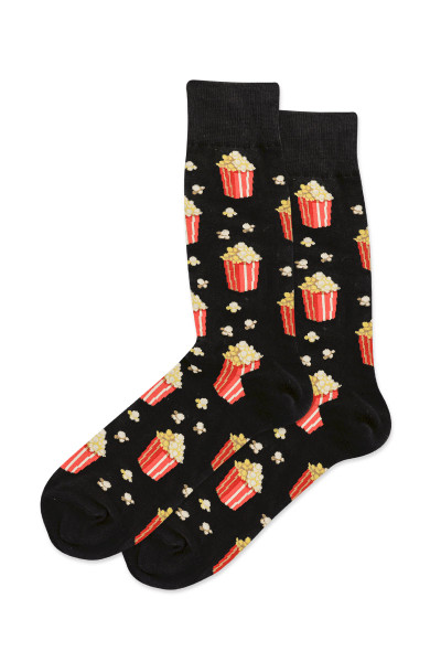 Hot Sox Popcorn Crew Socks HM100806 - Mens Socks - Front View - Topdrawers Underwear for Men