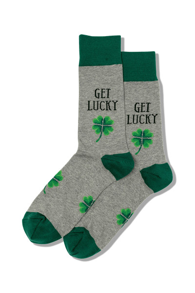 Hot Sox Get Lucky Crew Socks HMH00032 - Mens Socks - Front View - Topdrawers Underwear for Men