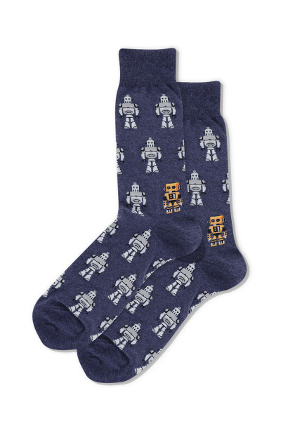 Hot Sox Robots Crew Socks HSM10009 - Mens Socks - Front View - Topdrawers Underwear for Men