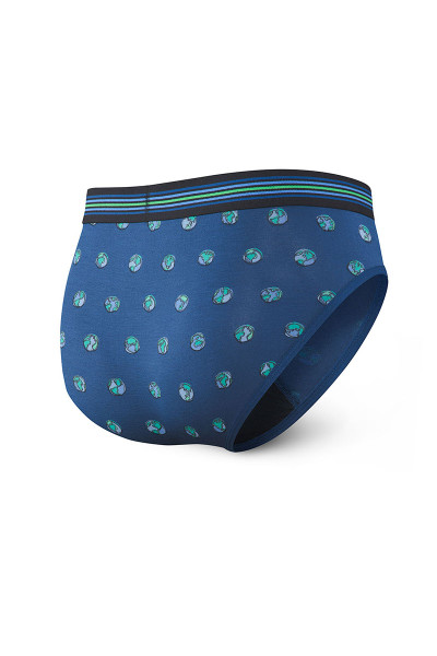 Saxx Ultra Brief w/ Fly | Blue Earth Day Globe SXBR30F-EDG - Mens Briefs - Rear View - Topdrawers Underwear for Men