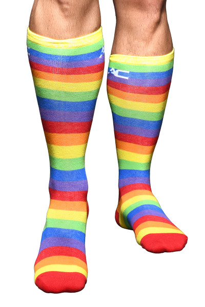 Andrew Christian Pride Stripe Socks 8460 - Mens Socks - Front View - Topdrawers Underwear for Men