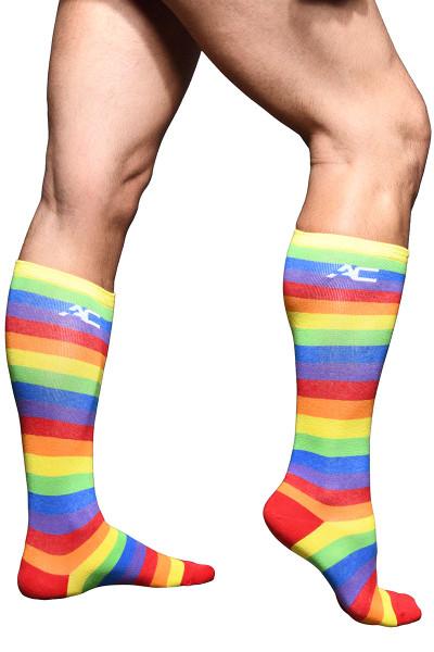 Andrew Christian Pride Stripe Socks 8460 - Mens Socks - Side View - Topdrawers Underwear for Men