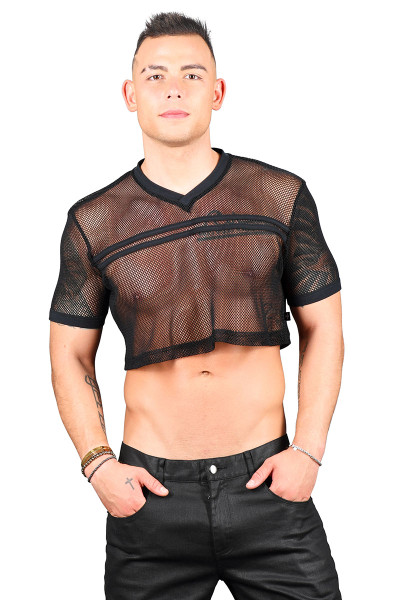 Andrew Christian Club Mesh Football Crop Tee 10292-BL Black  - Mens Crop Tops - Front View - Topdrawers Clothing for Men