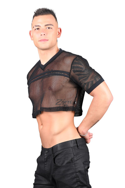 Andrew Christian Club Mesh Football Crop Tee 10292-BL Black  - Mens Crop Tops - Side View - Topdrawers Clothing for Men