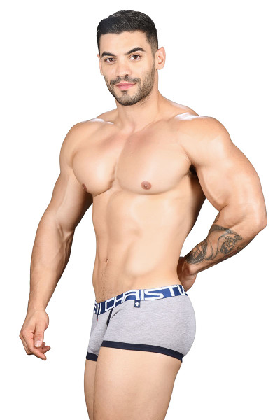 Andrew Christian Fly Tagless Boxer w/ Almost Naked 91438-HEA Heather Grey - Mens Boxer Briefs - Side View - Topdrawers Underwear for Men