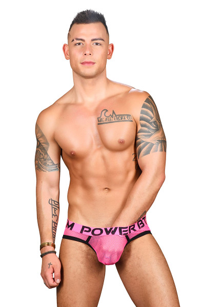 Andrew Christian Power Bottom Mesh Brief w/ Almost Naked 91460 - Mens Briefs - Front View - Topdrawers Underwear for Men
