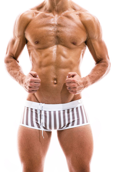 Modus Vivendi Sun Tanning Swim Trunk Boxer BS2021-WH White - Mens Trunk Swimsuits - Front View - Topdrawers Swimwear for Men