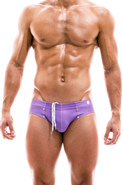 Modus Vivendi Jeans Swim Brief FS2012-FUS Fuchsia - Mens Bikini Swimsuits - Front View - Topdrawers Swimwear for Men
