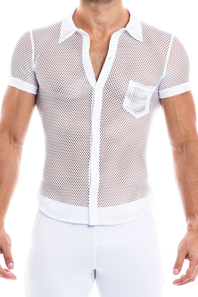 Modus Vivendi Camouflage Shirt 02042-WH White - Mens Shirts - Front View - Topdrawers Clothing for Men
