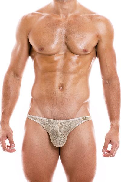 Modus Vivendi Armor Low Cut Brief 01013-GD Gold - Mens Bikini Briefs - Front View - Topdrawers Underwear for Men