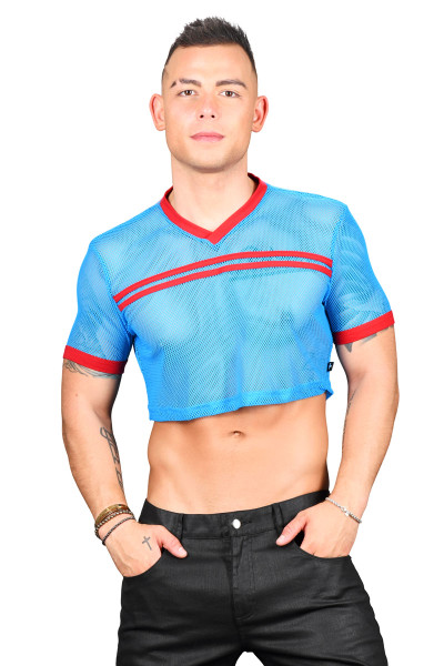 Andrew Christian Club Mesh Cropped Tee 10292-EBU Electric Blue - Mens T-Shirts - Front View - Topdrawers Clothing for Men