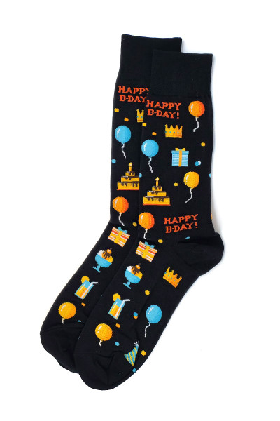 Hot Sox Happy B-Day Crew Socks HM100679 - Mens Socks - Front View - Topdrawers Underwear for Men