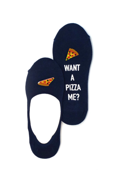 Hot Sox Pizza Me No Show Liner Socks HM100734 - Mens Socks - Front View - Topdrawers Underwear for Men